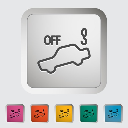 Tow away alarm off. Single icon. Vector illustration.. Illustration