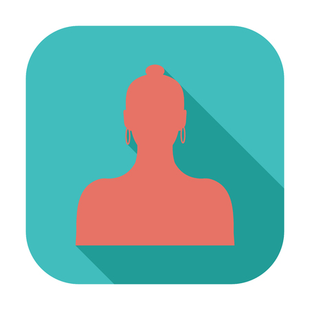Female avatar. Single flat color icon. Vector illustration.
