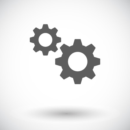 Gear. Single flat icon on white background. Vector illustration.