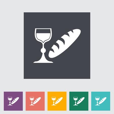 Bread and wine single flat icon. Vector illustration.