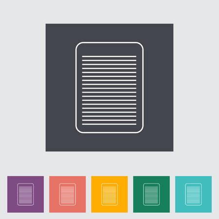 Document single flat icon. Vector illustration.