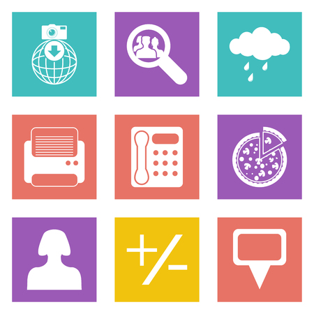 Color icons for Web Design and Mobile Applications set 49. Vector illustration.