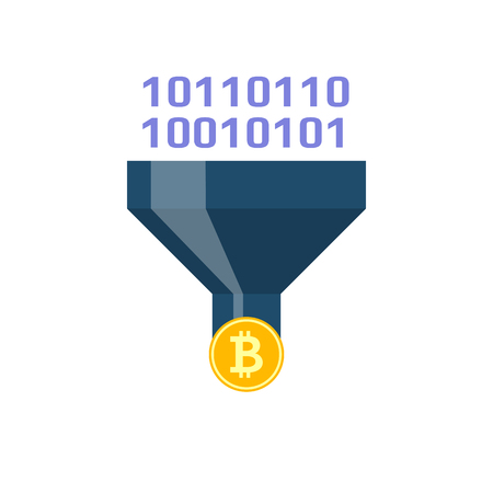 Converting Concept, Bitcoin, Binary Code Flat Vector Icon. Isolated on White Background. Illustration