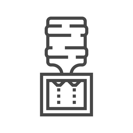 Water Cooler Thin Line Vector Icon Isolated on the White Background.