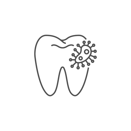 Dental Bacteria Line Icon. Dental Bacteria Line Related Vector Line Icon. Isolated on White Background. Editable Stroke.