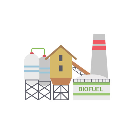 Bio Fuel Energy Factory, Bio Fuel Power Plant with Diesel Generator. Isolated on White Background. Trendy Flat Style.