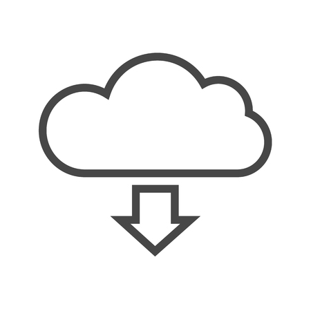 Cloud Storage Thin Line Icon. Flat icon isolated on the white background. Editablefile. illustration. Фото со стока