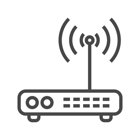 Router Thin Line Icon Isolated on the White Background.