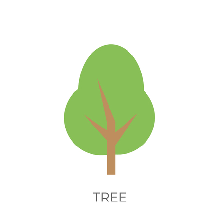 Tree in a Flat Design. Isolated on White Background. Icon.