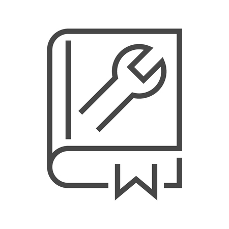 User Guide Book Thin Line Icon. Flat icon isolated on the white background. Editablefile. illustration.
