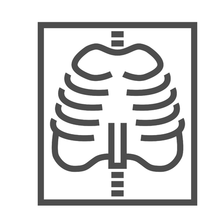 X-ray Thin Line Icon. Flat Icon Isolated on the White Background. Editable Strokefile. illustration.