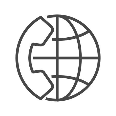 International Call Thin Line Icon. Flat icon isolated on the white background. Editablefile. illustration.