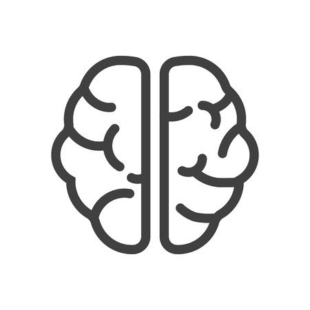Human Brain Icon. Thin Line Illustration. Adjust stroke weight - Expand to any Size - Easy Change Colour - Editable Stroke Stock Photo