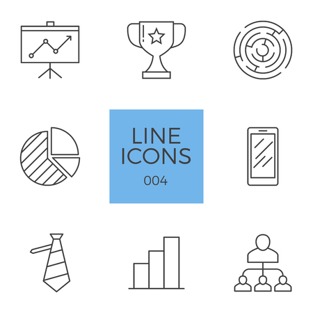 Business Related Line Icons Set. Isolated on White Background.