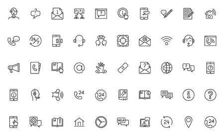 Simple Set of Help, Support and Contact Us Related Line Icons. Contains such Icons as Phone Assistant, Online Help, Support Service, Video Chat. Editable Stroke. 64x64 Pixel Perfect.