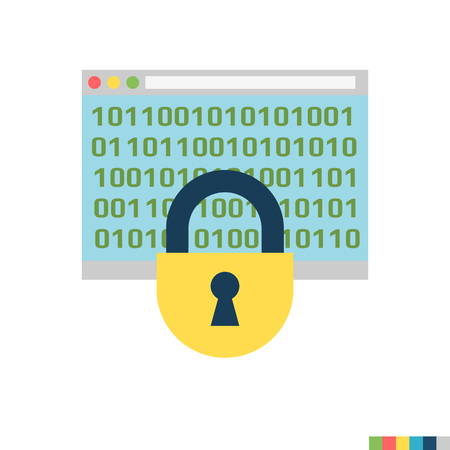 Cryptography Related Flat Icon. Isolated on White Background. Trendy Flat Style. Stock Photo