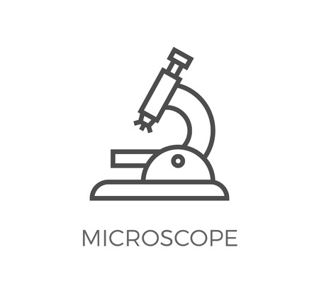 Microscope Thin Line Icon. Flat Icon Isolated on the White Background. Editable Strokefile. illustration.