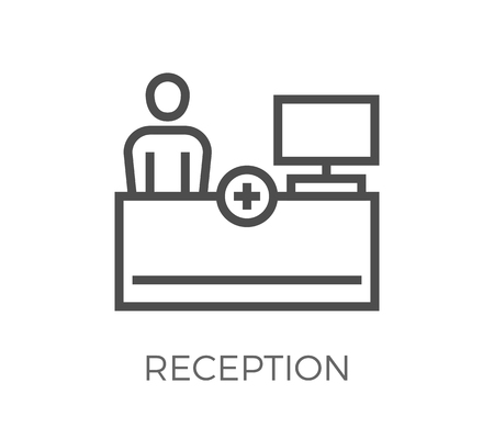 Reception Thin Line Icon. Flat Icon Isolated on the White Background. Editable Strokefile. illustration. Фото со стока