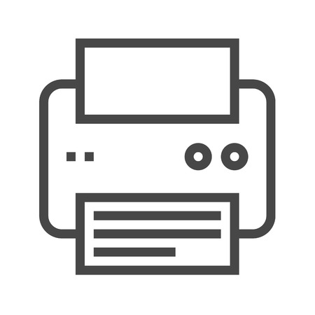 Printer Thin Line Icon. Flat icon isolated on the white background. Editablefile. illustration.