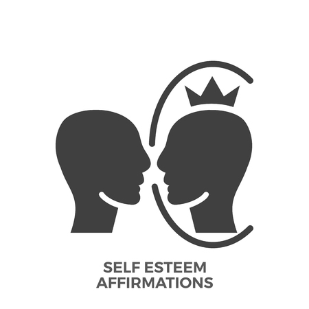 Self Esteem Affirmations Glyph Icon Isolated on the White Background.
