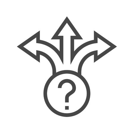 Three-Way Direction Arrow Thin Line Icon. Flat icon isolated on the white background. Editablefile. illustration.