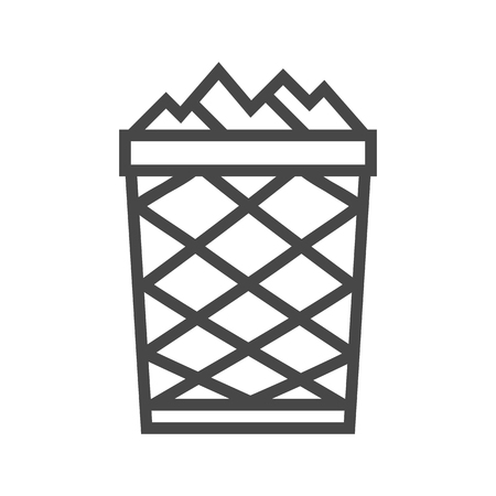 Trash Can Thin Line Icon Isolated on the White Background.