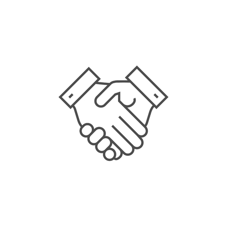 Handshake Related Vector Thin Line Icon. Isolated on White Background. Editable Stroke. Vector Illustration. 向量圖像
