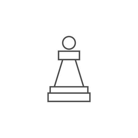 Chess Piece Pawn Related Vector Thin Line Icon. Isolated on White Background. Editable Stroke. Vector Illustration.
