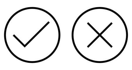 Check and Cross Mark Thin Line Icon. Flat icon isolated on the white background.