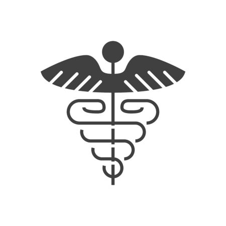 Caduceus Glyph Icon. Isolated on the White Background. Stock Photo