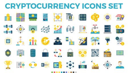 Cryptocurrency and Blockchain Related Flat Icons. Crypto Icon Set Featuring Bitcoin, Wallet, Mining, Distributed Ledger Technology, P2P, Altcoins, Encryption, Smart Contracts, Decentralized s