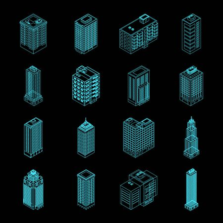 Isometric Holography City Building Set. Isometric City Building Icon Isolated on Black Background. Private House, Skyscraper, Real Estate, Public Building, Hotel.