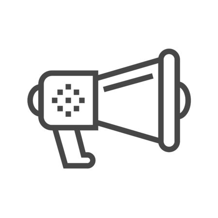 Loud Speaker Thin Line Icon. Flat icon isolated on the white background. Stock Photo