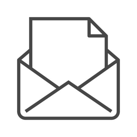 Mail with Massage Thin Line Icon. Flat icon isolated on the white background.
