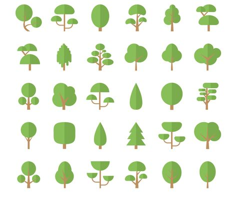 Set Flat Trees in a Flat Design. Isolated on White Background. Icons.