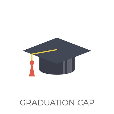 Graduation Cap Icon . Isolated on White Background. Trendy Flat Style.