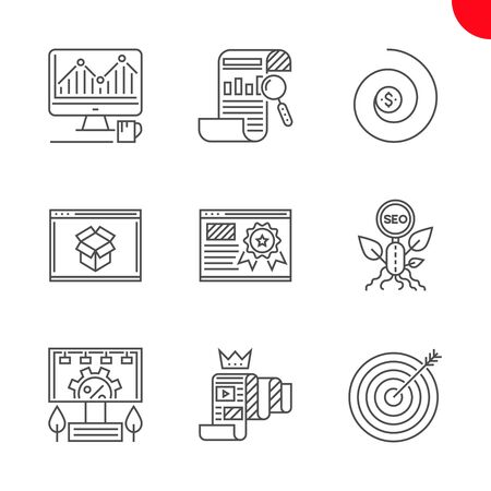 SEO Related Vector Line Icons Set. Report, organic seo, monitoring, return on investment, page quality, keyword targeting, seo pakages, quality content, adverting service. Editable Stroke