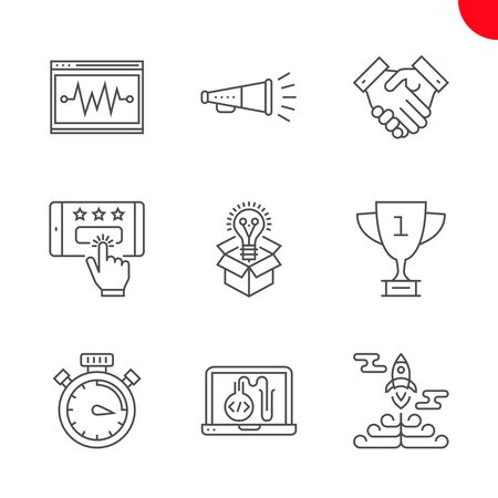 SEO Related Vector Line Icons Set. Victory strategy, creative package, customer reviews, award, promotion, testing programming, campaign timing, seo perfomance, partners. Editable Stroke Ilustração