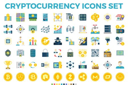 Cryptocurrency and Blockchain Related Flat Icons. Crypto Icon Set Featuring Bitcoin, Wallet, Mining, Distributed Ledger Technology, P2P, Altcoins, Encryption, Smart Contracts, Decentralized s Stock fotó - 125206550