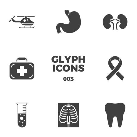 Medical Icons Set. Glyph Related Icons, Sign and Symbols in Flat Design Medicine and Health Care with Elements for Mobile Concepts and Web Apps. Collection Infographic and Pictogram