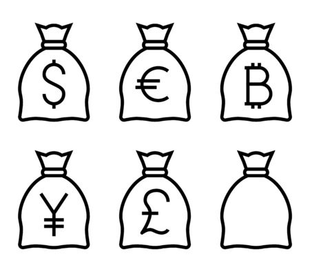 Bags with Money Thin Line Icon. Flat icon isolated on the white background. Editablefile. illustration. 版權商用圖片