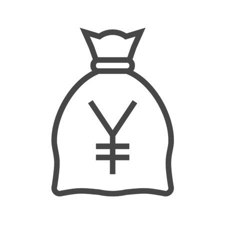 Money Bag with Yen Thin Line Icon. Flat icon isolated on the white background. Editablefile. illustration.