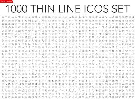 Set di 1000 icone di linea sottile Vettoriali