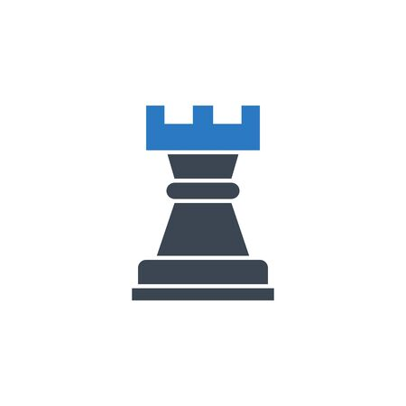 Chess Rook related vector glyph icon. Stock Illustratie