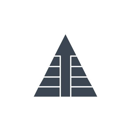 Pyramid with Arrow related vector glyph icon. Illustration