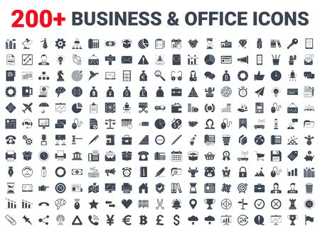 Business, office, finance icons set. Illusztráció