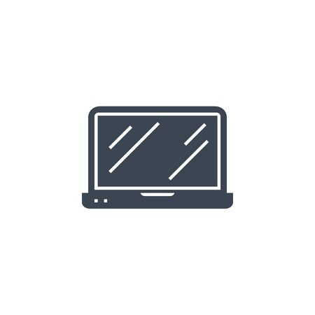 Laptop Flat related vector glyph icon. Illustration