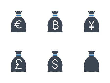 Bags with Money related vector glyph icon.