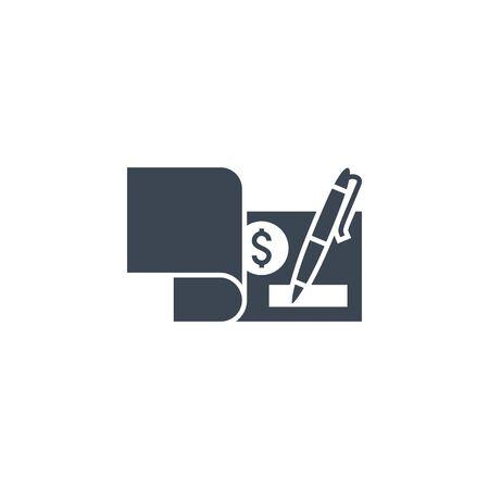 Bank Check related vector glyph icon Vectores