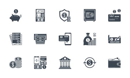 Banking icons set. Related vector glyph icons. Ilustracja